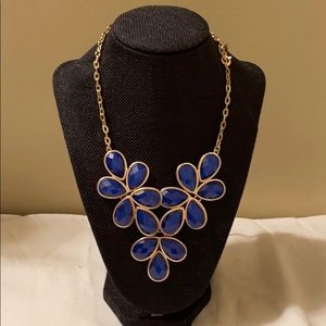 Blue and gold floral necklace